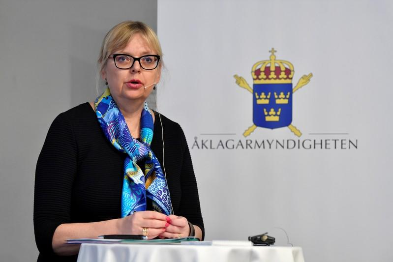 Deputy Director of Public Prosecution Eva-Marie Persson is seen during a news conference in Stockholm