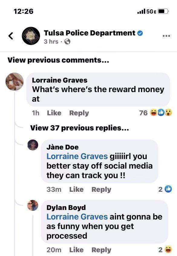 The police department shared a screenshot of Graves' comment, which received 37 replies and was ultimately deleted. / Credit: Tulsa Police Department