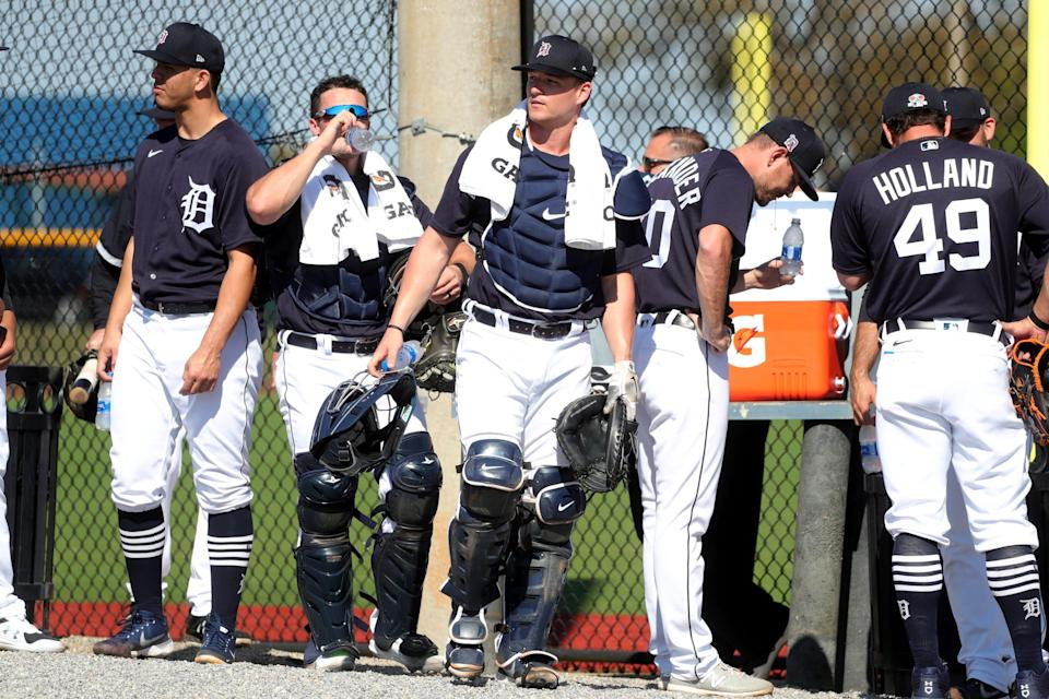 Detroit Tigers catcher Dillon Dingler moves to the next drill  after bullpen sessions  Thursday, Feb. 25, 2021 on the Tiger Town practice fields in Lakeland, Florida.