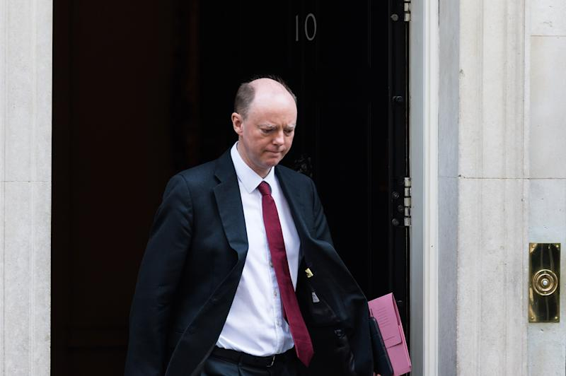 LONDON, UNITED KINGDOM - MARCH 25, 2020: Prof Chris Whitty, the governmentÍs chief medical adviser, leaves 10 Downing Street on 25 March, 2020 in London, England. The month-long parliamentary Easter recess begins today as the UK is under lockdown imposed to slow down the spread of the Coronavirus.- PHOTOGRAPH BY Wiktor Szymanowicz / Barcroft Studios / Future Publishing (Photo credit should read Wiktor Szymanowicz/Barcroft Media via Getty Images)