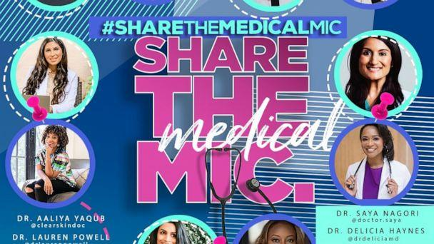 PHOTO: 80 female physicians take part in the social media campaign #sharethemedicalmic on July 22, 2020. (Courtesy Dr. Jessica Shepherd)