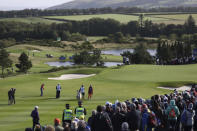Sisters Nelly, left, and Jessica Korda of the US playing the 8th hole against Caroline Masson and Jodi Ewart Shadow of Europe in the foursomes during the Solheim cup at Gleneagles, Auchterarder, Scotland, Friday, Sept. 13, 2019. The Solheim cup runs from 13-15 Sept. (AP Photo/Peter Morrison)