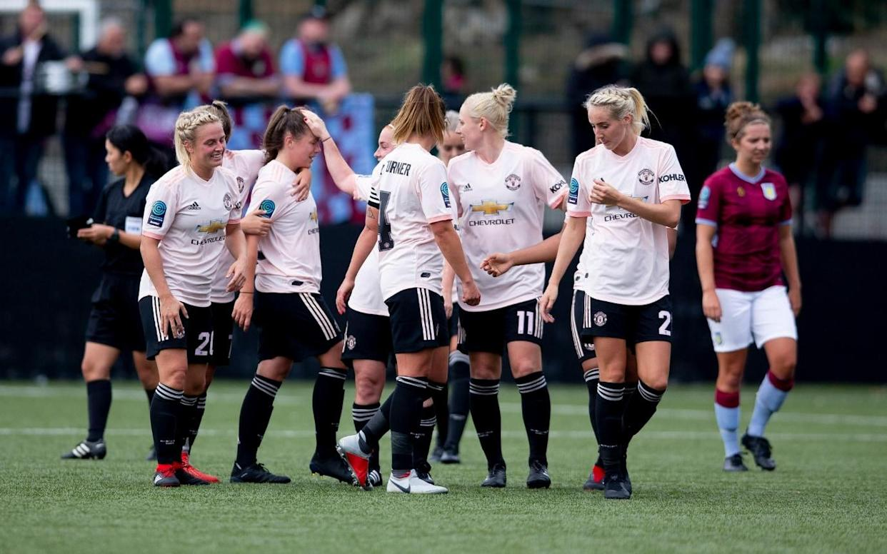Manchester United made a strong statement of intent in their first FA Women's Championship game on Sunday with a 12-0 hammering of AstonVilla.