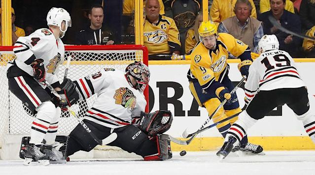 SAN JOSE, Calif. (AP) After posting two of the top four records in the NHL in the regular season, the Chicago Blackhawks and Columbus Blue Jackets both need to find out a way to get a win on the road or their playoff runs will end almost as soon as they began.