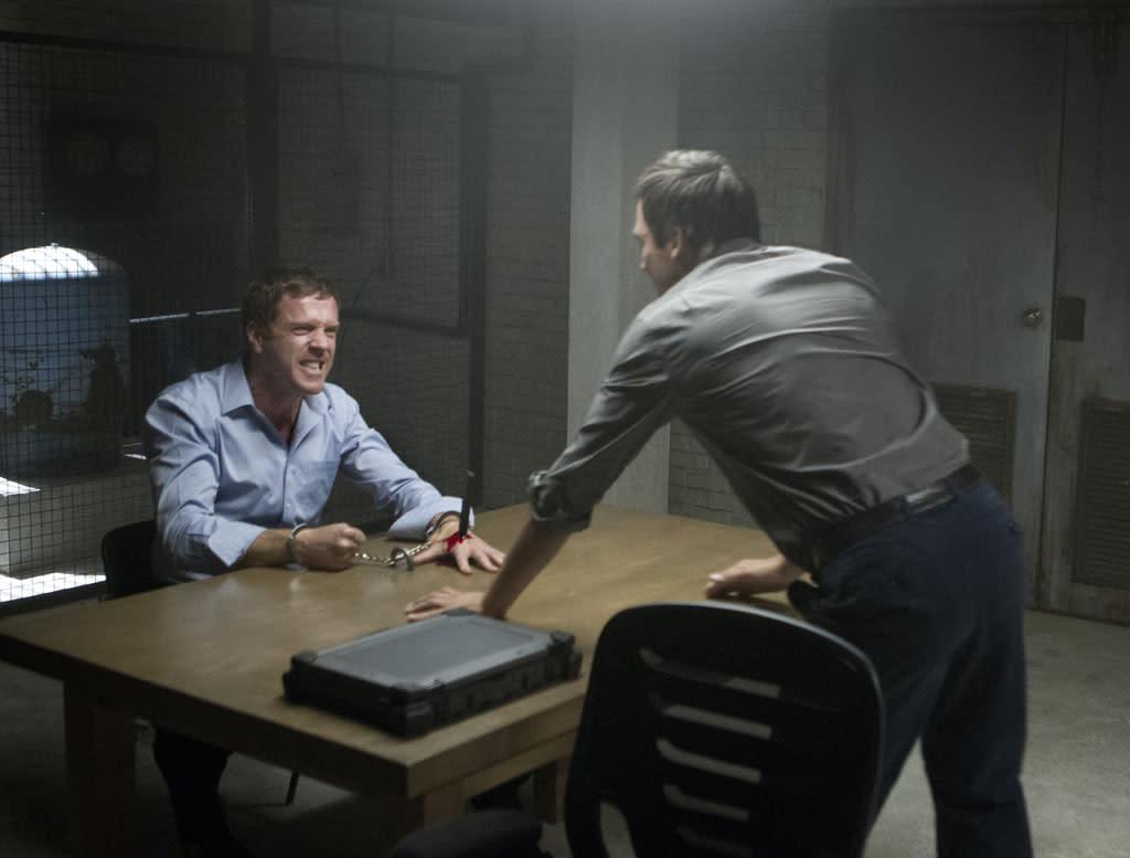 "Damian Lewis as Nicholas ""Nick"" Brody and Rupert Friend as Peter Quinn in the ""Homeland"" Season 2 episode, ""Q&A."""