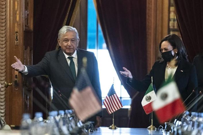 Vice President Kamala Harris and Mexican President Andres Manuel Lopez Obrador arrive for a bilateral meeting Tuesday, June 8, 2021, at the National Palace in Mexico City. (AP Photo/Jacquelyn Martin)