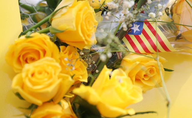 "A Catalan separatist ""Estelada"" flag is seen with yellow roses in support of imprisoned pro-independence leaders during Sant Jordi's day at Catalunya square in Barcelona, Spain April 23, 2018. REUTERS/Albert Gea"