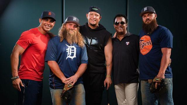 "Miguel Cabrera, Pedro Martinez and Carlos Pena with the ""Diesel Brothers."" (Discovery)"