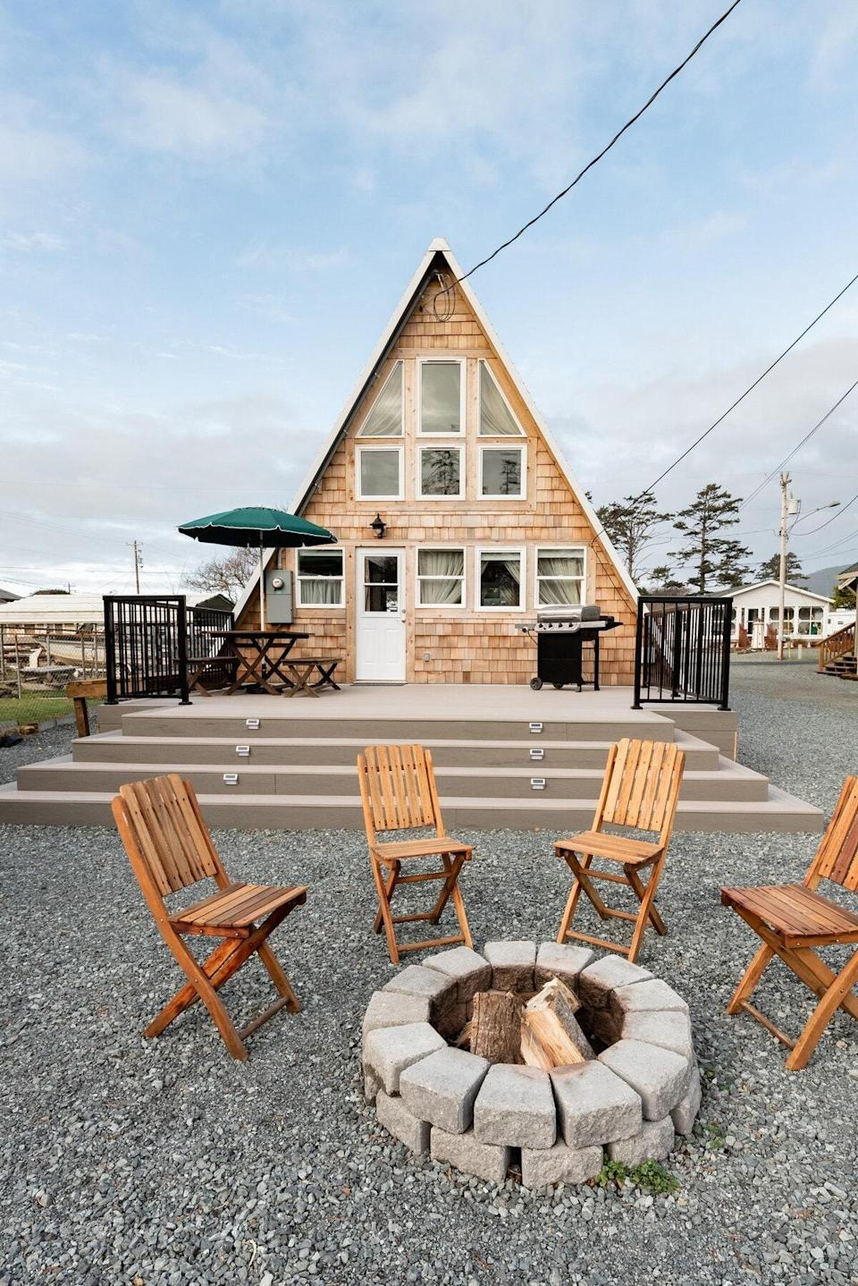 """<strong>Bedrooms:</strong> 2<br> <strong>Bathrooms:</strong> 1<br> <strong>Minimum stay:</strong> 2 nights<br> <br> Rockaway Beach has been a bustling tourist destination since the 1920s. Mountains meet the sea in this coastal town, and there's plenty to see and do. Explore the local tide pools, take a ride on a steam engine train past Tillamook Bay, head over to the Cedar Old Growth Nature Preserve, or check out charming restaurants, boutiques, and antiques shops all within walking distance of this sweet A-frame cabin that sits just off the beach. (And if you need, feel free to pack up the dog bed—pets are welcome, and the hosts are known to leave treats and bags out for pets.) $160, Airbnb (Starting Price). <a href=""""https://www.airbnb.com/rooms/plus/30719878"""" rel=""""nofollow noopener"""" target=""""_blank"""" data-ylk=""""slk:Get it now!"""" class=""""link rapid-noclick-resp"""">Get it now!</a>"""
