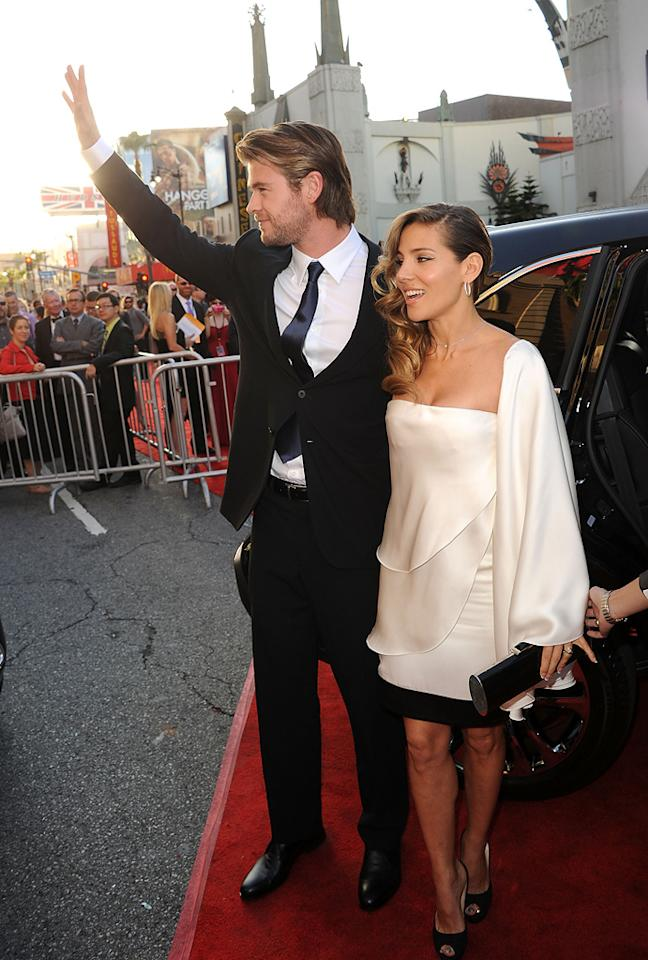 "<a href=""http://movies.yahoo.com/movie/contributor/1809982254"">Chris Hemsworth</a> and <a href=""http://movies.yahoo.com/movie/contributor/1804504141"">Elsa Pataky</a> attend the Los Angeles premiere of <a href=""http://movies.yahoo.com/movie/1810026342/info"">Thor</a> on May 2, 2011."