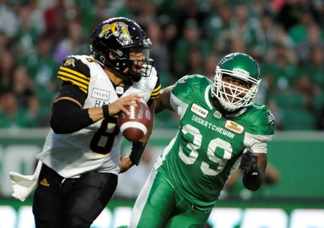 Marcus Thigpen's late touchdown leads Saskatchewan over Hamilton 18-13