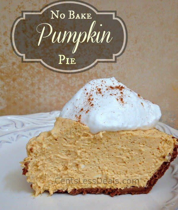 """Another option that doesn't need the oven, this one uses a healthy dose of Cool Whip and elbow grease (for the stirring, of course). <a href=""""http://centslessdeals.com/2013/09/bake-pumpkin-pie-recipe.html/"""" rel=""""nofollow noopener"""" target=""""_blank"""" data-ylk=""""slk:Find the recipe at Cents Less Deals"""" class=""""link rapid-noclick-resp"""">Find the recipe at Cents Less Deals</a>."""