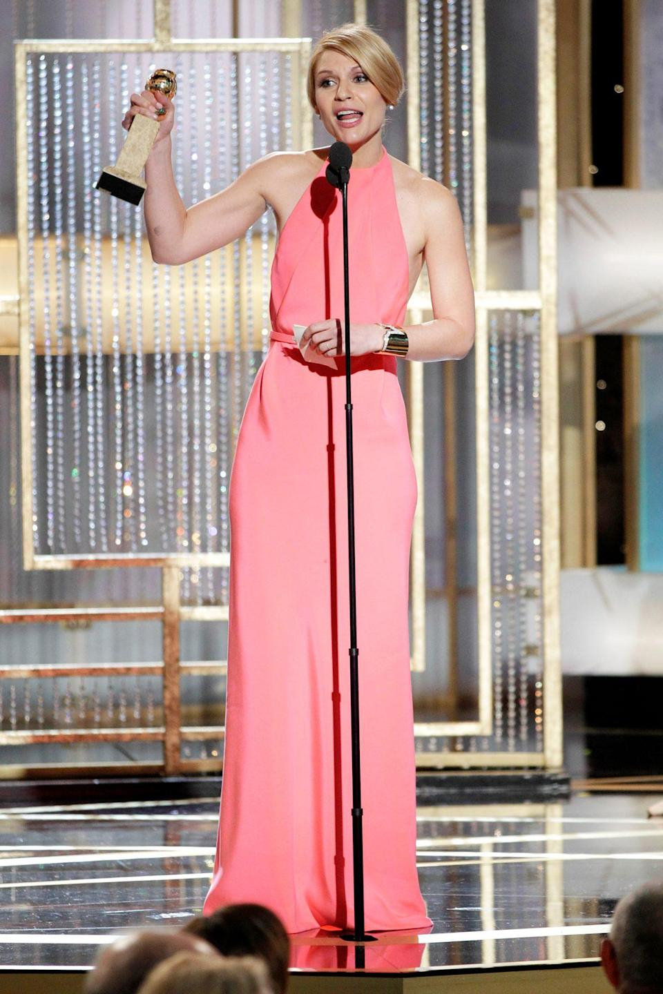<p>Claire Danes was polished in her pink halter column when she took home best actress in a television movie for her role in <em>Temple Grandin.</em></p>