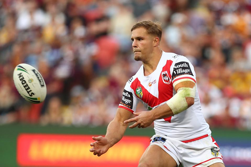 Jack De Belin of the Dragons passes during the NRL Elimination Final match between the Brisbane Broncos and the St George Illawarra Dragons at Suncorp Stadium on September 9, 2018 in Brisbane, Australia.