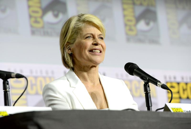 "SAN DIEGO, CALIFORNIA - JULY 18: Linda Hamilton speaks at the ""Terminator: Dark Fate"" panel during 2019 Comic-Con International at San Diego Convention Center on July 18, 2019 in San Diego, California. (Photo by Albert L. Ortega/Getty Images)"