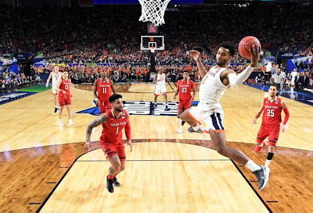 Braxton Key #2 of the Virginia Cavaliers reaches for a rebound against the Texas Tech Red Raiders during the first half in the 2019 NCAA men's Final Four National Championship game at U.S. Bank Stadium on April 08, 2019 in Minneapolis, Minnesota. (Photo by Brett Wilhelm/NCAA Photos via Getty Images)