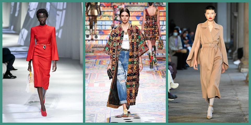 """<p>As the third stop on the Fashion Week calendar, Milan had a lot to live up to. <a href=""""https://www.townandcountrymag.com/style/fashion-trends/g34063253/new-york-fashion-week-spring-2021-best-moments/"""" rel=""""nofollow noopener"""" target=""""_blank"""" data-ylk=""""slk:New York"""" class=""""link rapid-noclick-resp"""">New York</a> and <a href=""""https://www.townandcountrymag.com/style/fashion-trends/g34079330/london-fashion-week-spring-2021/"""" rel=""""nofollow noopener"""" target=""""_blank"""" data-ylk=""""slk:London"""" class=""""link rapid-noclick-resp"""">London</a> both brought interesting and refreshing takes to the Spring/Summer 2021 season, both design-wise and technologically. But not to worry - Milan definitely did not disappoint. </p><p>The week kicked off with presentations by Missoni, Fendi, Alberta Ferretti, and Dolce & Gabbana. Due to relaxed COVID restrictions in Milan, many designers were able to host in-person, socially distanced presentations alongside their digital events. However, most editors and fashion lovers were unable not travel internationally this year, which catalyzed some major technological advances. For example, Fendi created a """"digital front row"""" that allowed its VIP guests to zoom in, screenshot, and rotate the camera as they pleased. For Salvatore Ferragamo's collection presentation, select editors and influencers were sent virtual reality glasses with a set of special instructions so they could view the show as if they were really there. Though many events went without a live audience (Moschino even utilized puppets instead of models), Versace filled the front row with their most important guests: their team. </p><p>Solidarity and community were major themes throughout the shows. Dolce & Gabbana's patchwork pieces were inspired by different people, cultures, and communities coming together as one. In <em>Marnifesto</em>, Franceso Risso of Marni's take on fostering community, he dressed 48 international artists of all mediums in his newest collection. <em>Marnifesto</em> swep"""