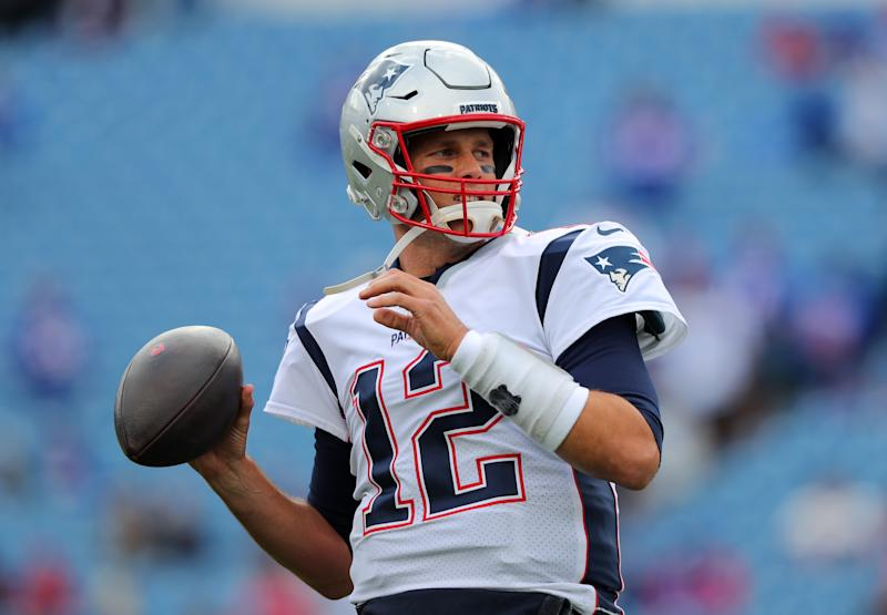 ORCHARD PARK, NY - SEPTEMBER 29: Tom Brady #12 of the New England Patriots throws a pass before a game against the Buffalo Bills at New Era Field on September 29, 2019 in Orchard Park, New York. Patriots beat the Bills 16 to 10. (Photo by Timothy T Ludwig/Getty Images)