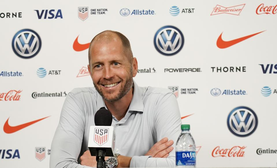 SAINT LOUIS, MO - SEPTEMBER 10: USMNT Head Coach Gregg Berhalter of the United States addresses the press after their International Friendly soccer match Uruguay at Busch Stadium, on September 10, 2019 in St. Louis, MO. (Photo by John Todd/ISI Photos/Getty Images)