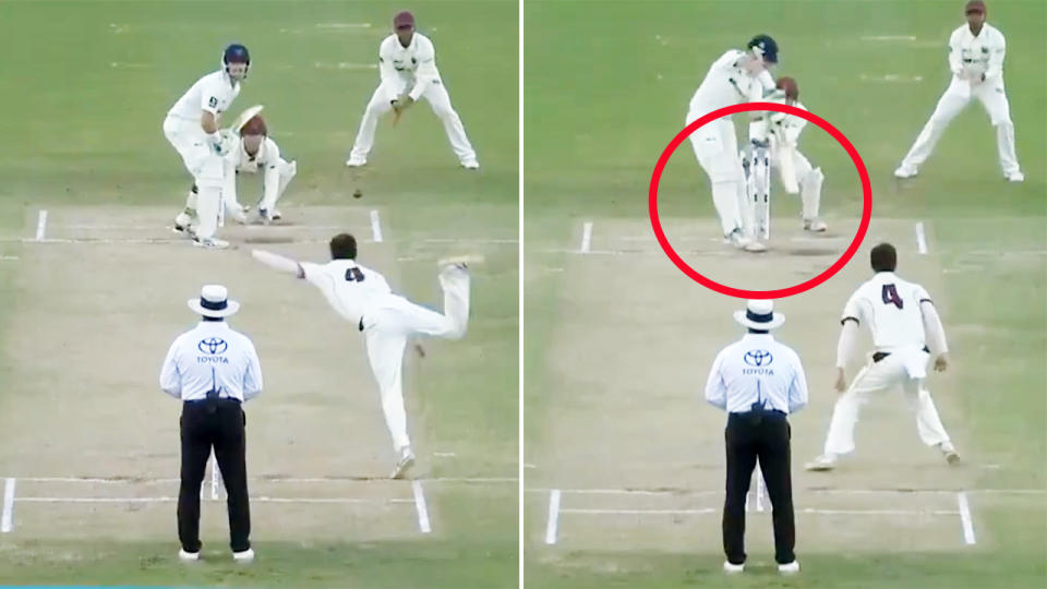 Mitchell Swepson, pictured here dismissing Daniel Hughes in the Sheffield Shield.