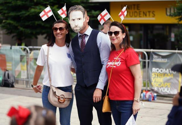 England supporters with a fellow fan dressed as Gareth Southgate