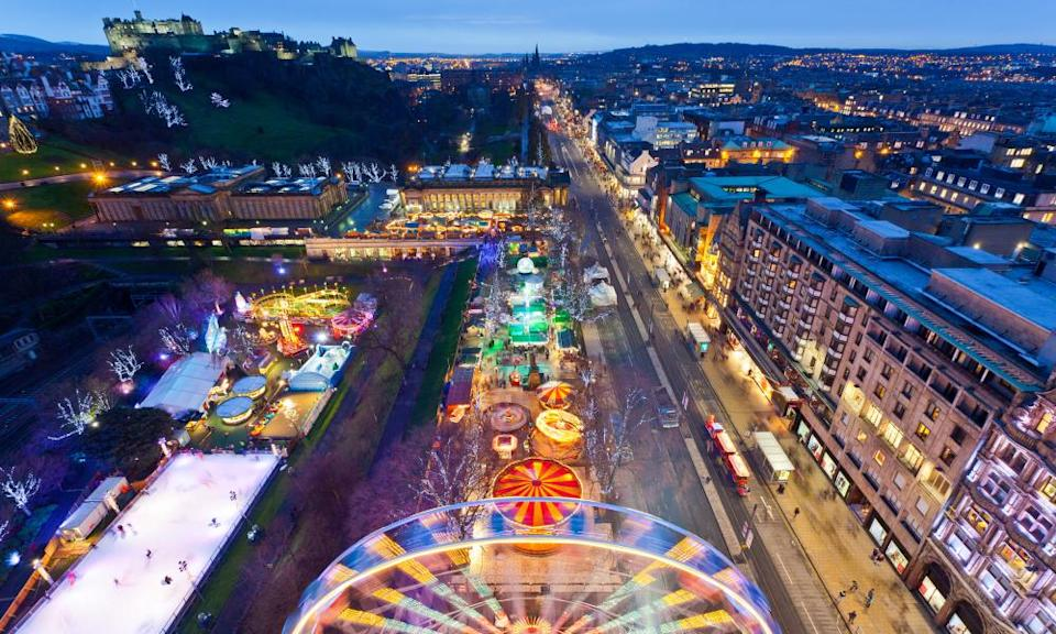 Christmas fair and market in Edinburgh.