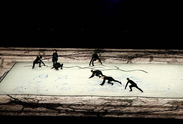 BEIJING - AUGUST 08:  Dancers perform on a scroll during the Opening Ceremony for the 2008 Beijing Summer Olympics at the National Stadium on August 8, 2008 in Beijing, China.  (Photo by Adam Pretty/Getty Images)