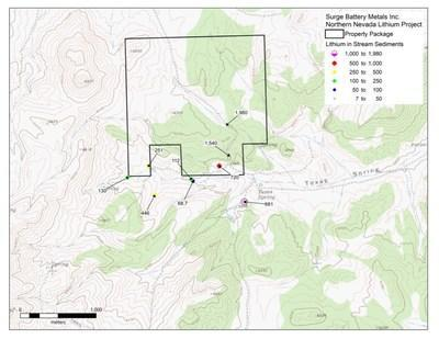 """""""Area Map of the Surge Lithium Claim in Northern Nevada"""""""