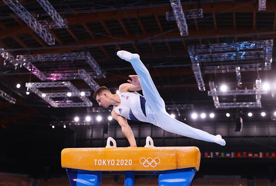 <p>TOKYO, JAPAN - AUGUST 01: Max Whitlock of Team Great Britain competes in the Men's Pommel Horse Final on day nine of the Tokyo 2020 Olympic Games at Ariake Gymnastics Centre on August 01, 2021 in Tokyo, Japan. (Photo by Laurence Griffiths/Getty Images)</p>