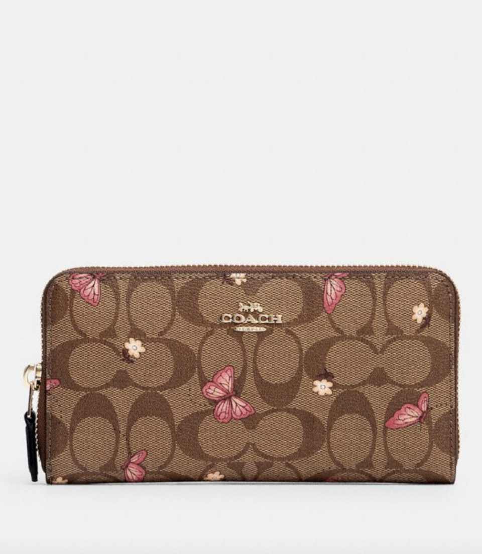 Accordion Zip Wallet in Signature Canvas with Butterfly Print (Photo via Coach Outlet)