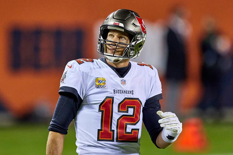 Tom Brady (12) looks on in game action during a NFL game between the Chicago Bears and the Tampa Bay Buccaneers on October 8th, 2020, at Soldier Field in Chicago, IL. (Photo by Robin Alam/Icon Sportswire via Getty Images)