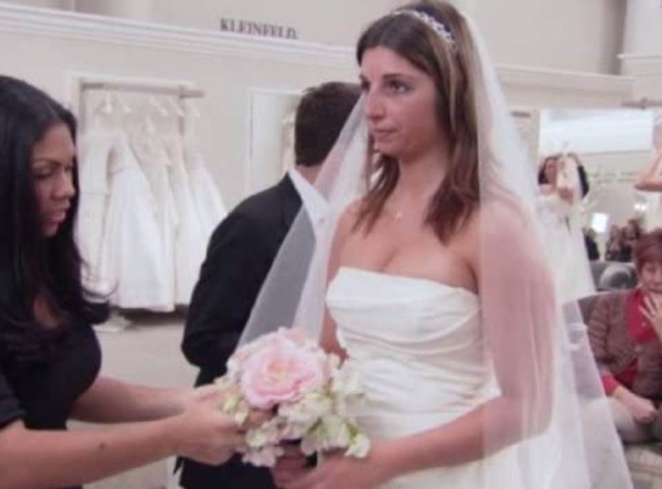 """<p>The title of the show has become a wildly popular one-liner for brides, but saying """"yes to the dress"""" was done at Kleinfeld <a href=""""https://www.buzzfeed.com/terripous/21-things-you-never-knew-about-say-yes-to-the-dress"""" rel=""""nofollow noopener"""" target=""""_blank"""" data-ylk=""""slk:way before TLC showed up"""" class=""""link rapid-noclick-resp"""">way before TLC showed up</a>. </p>"""