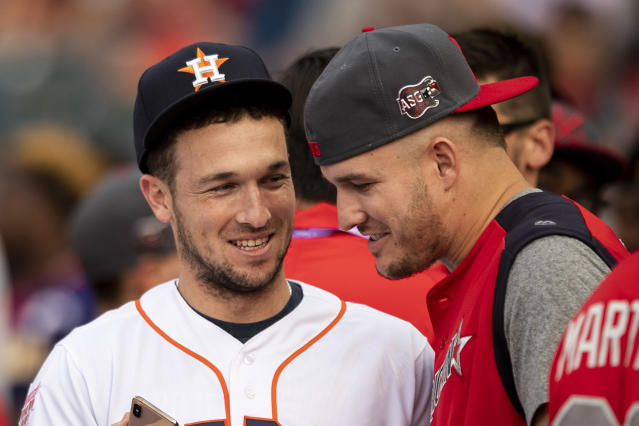 "Alex Bregman and <a class=""link rapid-noclick-resp"" href=""/mlb/players/8861/"" data-ylk=""slk:Mike Trout"">Mike Trout</a> are two of the finalists for AL MVP. (Photo by Billie Weiss/Boston Red Sox/Getty Images)"