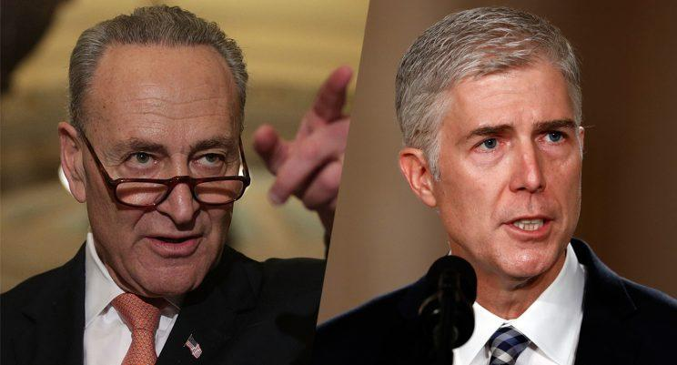 U.S. Senate Minority Leader Sen. Charles Schumer (D-NY) and Judge Neil Gorsuch. (Photos: Alex Wong/Getty Images, Carolyn Kaster/AP)