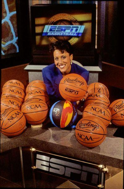 PHOTO: Bristol, CT - September 1, 1996 - ESPN Campus:.On air talent member Robin Roberts is shown posing with basketballs on the studio set back in 1996 (ABC News/ESPN Images/Rick LaBranche)