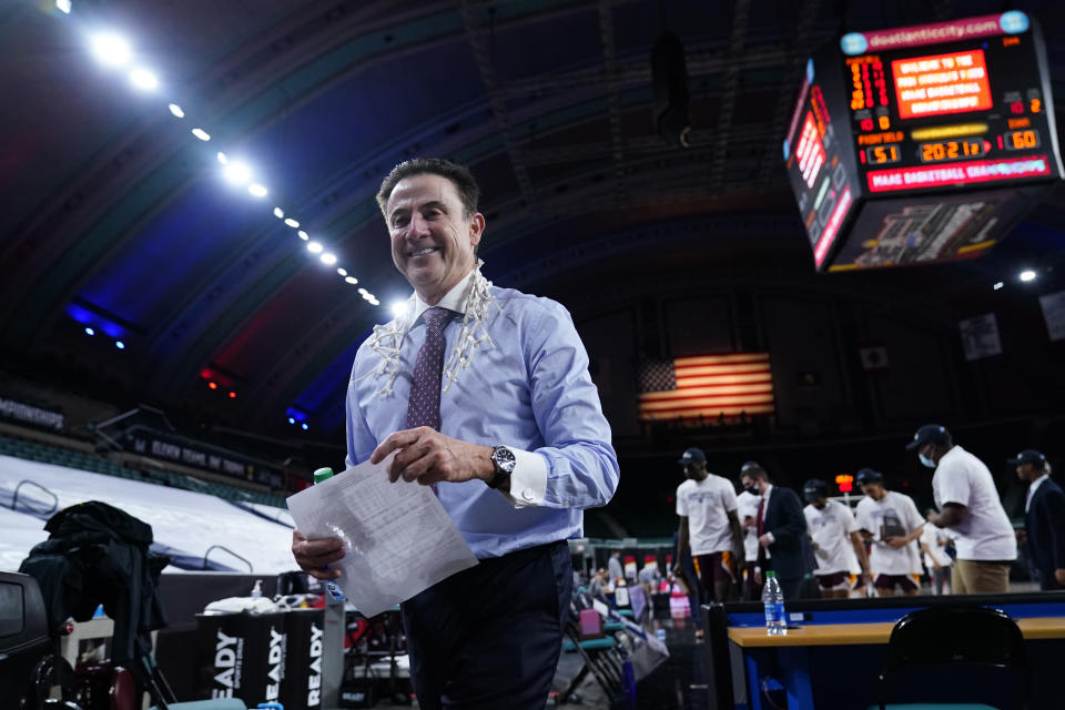 Iona head coach Rick Pitino walks off the court after Iona won an NCAA college basketball game against Fairfield during the finals of the Metro Atlantic Athletic Conference tournament, Saturday, March 13, 2021, in Atlantic City, N.J. (AP Photo/Matt Slocum)