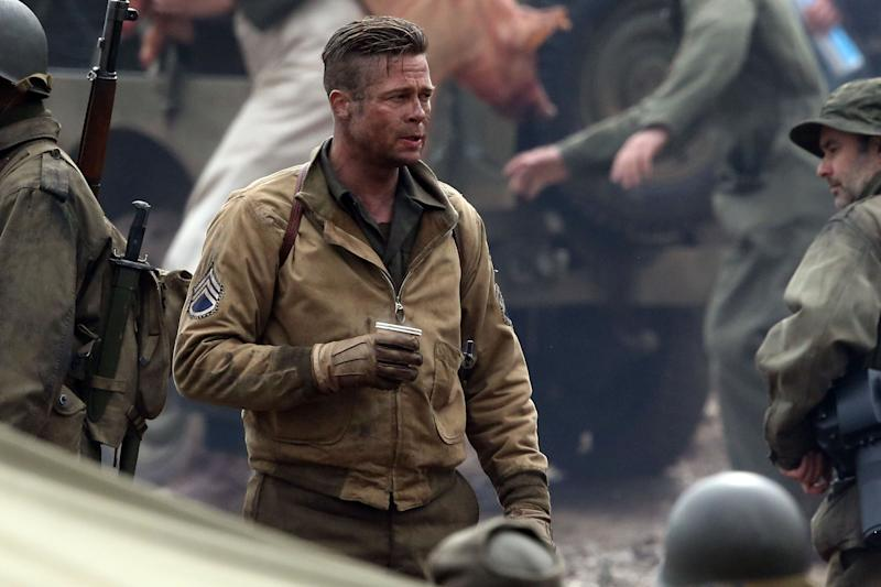 "Brad Pitt seen filming ""Fury"" near Oxford in the UK"