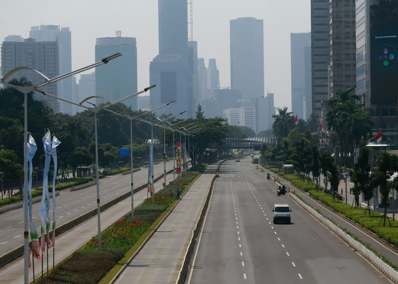 A general view shows a deserted main road during the imposition of large-scale social restrictions by the government to prevent the spread of the coronavirus disease (COVID-19)