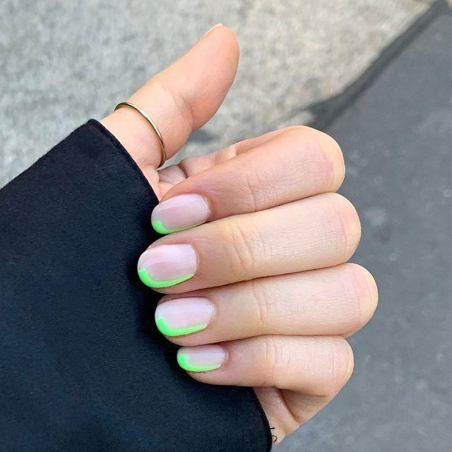 """<p>Turn the french manicure on its side (quite literally) and swap the white for luminous flubber esque green. </p><p><a href=""""https://www.instagram.com/p/BxSbR1dnadH/"""" rel=""""nofollow noopener"""" target=""""_blank"""" data-ylk=""""slk:See the original post on Instagram"""" class=""""link rapid-noclick-resp"""">See the original post on Instagram</a></p>"""