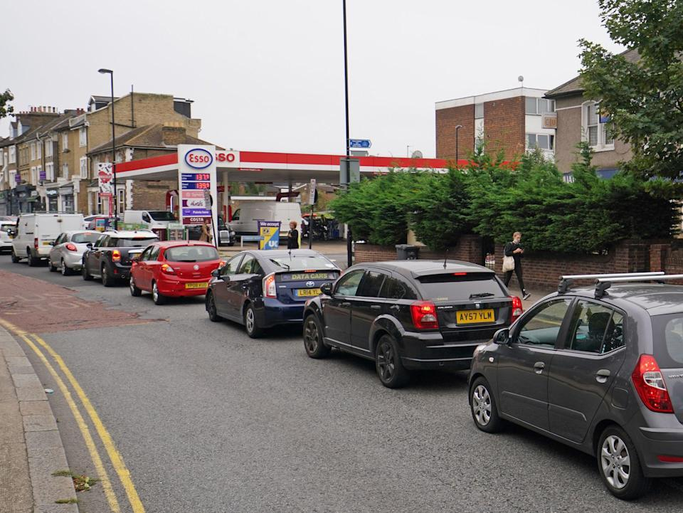 A queue for petrol in Brockley, south London (PA)