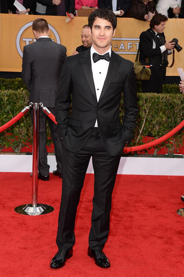 Darren Criss arrives at the 19th Annual Screen Actors Guild Awards at the Shrine Auditorium in Los Angeles, CA on January 27, 2013.