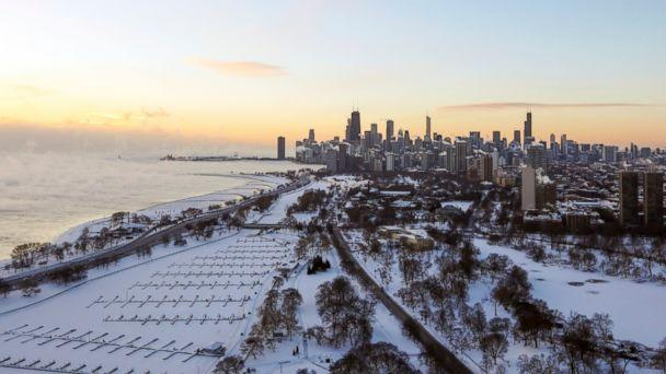 PHOTO: Chicago's lakefront is covered with ice on, Jan. 30, 2019. (Teresa Crawford/AP)