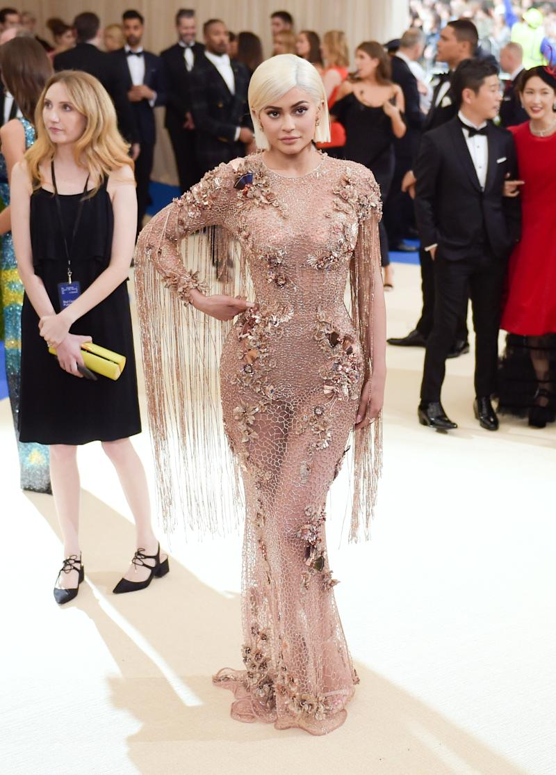 Kylie Jenner in a custom Versace dress at the Metropolitan Museum of Art Costume Institute gala for 'Rei Kawakubo: Art of the In-Between' in New York, New York, May 2017.