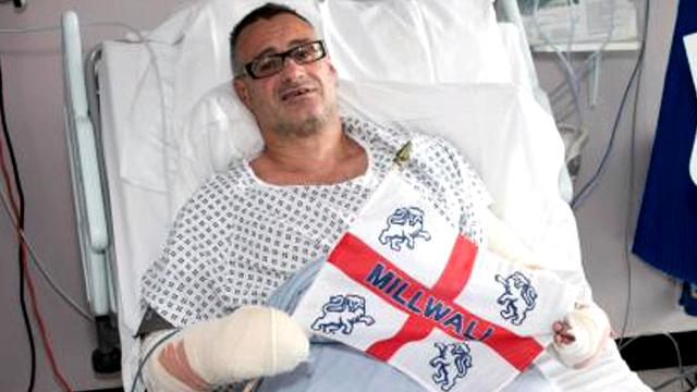 Roy Larner pictured in hospital after the London Bridge terror attack