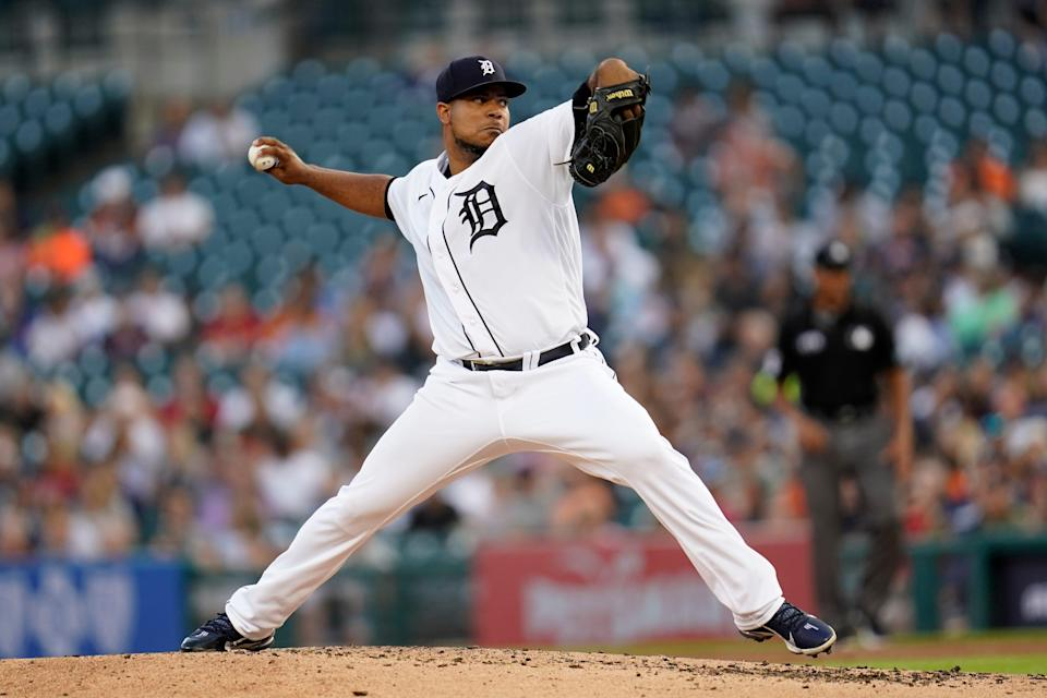 Tigers pitcher Wily Peralta throws against the Red Sox in the fourth inning on Tuesday, Aug. 3, 2021, at Comerica Park.