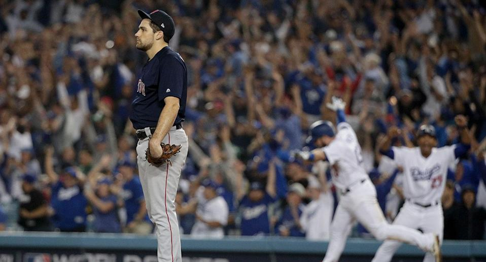 Nathan Eovaldi pitched well in relief for the Red Sox … until he gave up Max Muncy's game-winning HR in the 18th. (AP)