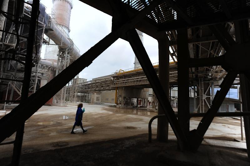 The Basel Cement Pikalyovo company -- which produces alumina -- today employs more than 2,100 people, or more than a tenth of the population of the town (AFP Photo/Olga Matseva)