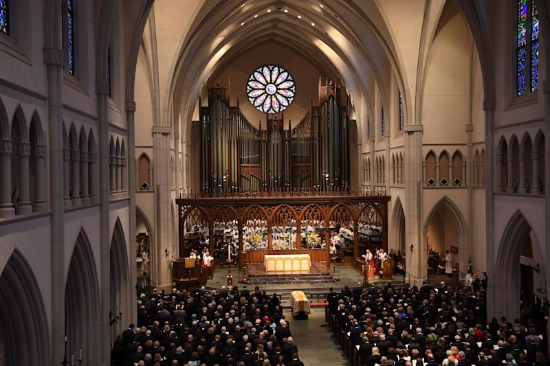 The funeral for former first lady Barbara Bush at St. Martin's Episcopal Church in Houston on April 21, 2018. (Photo: SIPA USA/PA Images)