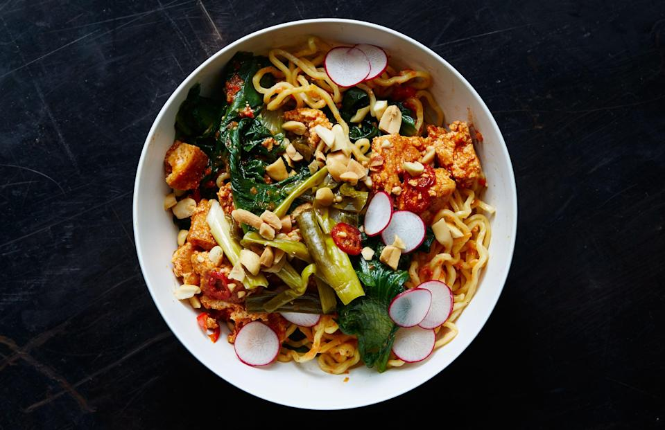"Give an hour to prepping these components, and thank yourself all week long. <a href=""https://www.bonappetit.com/recipe/ramen-noodle-bowl-with-escarole-and-spicy-tofu-crumbles?mbid=synd_yahoo_rss"" rel=""nofollow noopener"" target=""_blank"" data-ylk=""slk:See recipe."" class=""link rapid-noclick-resp"">See recipe.</a>"