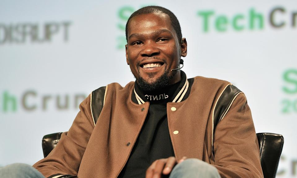 Golden State Warriors star Kevin Durant speaks onstage during TechCrunch Disrupt SF 2017 on Tuesday in San Francisco.